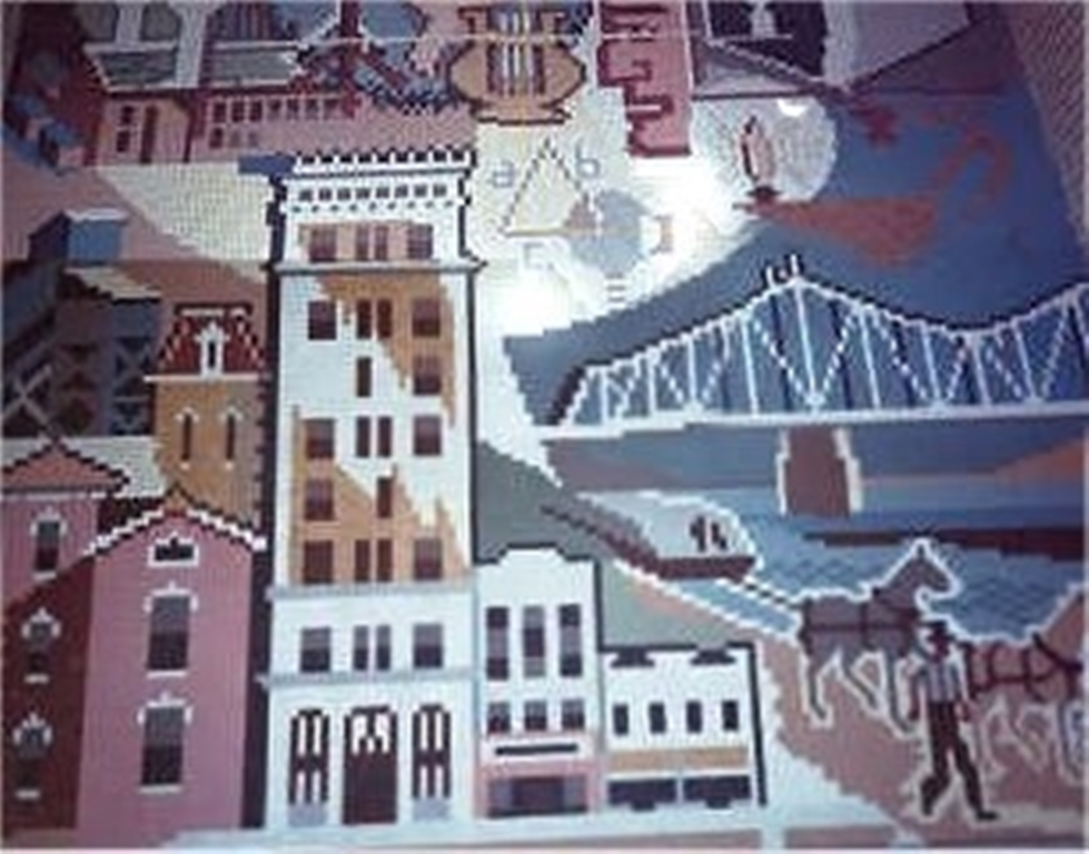 Library Mural showing history of Bellaire